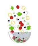 Przepis sałatkowych kulinarnych inkasowych tło soli pieprzu pikantność menu szparagowa Grecka sałatkowa restauracja Zdjęcie Stock