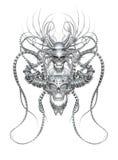 Przeplatać 3d chromu czaszki Zdjęcia Royalty Free