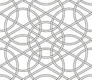 Przeplatający okręgi, bezszwowi kreskowi geometryczni wektorów wzory ilustracja wektor