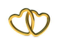 Przeplatani złociści serce pierścionki Fotografia Royalty Free