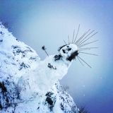Przerażający śnieżny mężczyzna Zdjęcia Stock