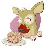 Przerażający żywego trupu rogacz z mózg Fotografia Royalty Free