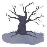 Przerażający błękitny drzewo ilustracja wektor