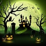 Przerażający cmentarz z kasztelem i baniami ilustracja wektor