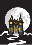 Przerażający dom z księżyc w pełni Zdjęcia Stock