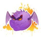 Przerażającej kreskówki zły demon z nietoperzy skrzydłami Zdjęcie Royalty Free