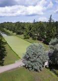 Przerastający z korytkowym duckweed Catherine 24 km imperiału park szlachetności Petersburgu centrum pobyt rodzinny poprzedniego  fotografia stock