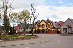 View of central Market Square in Przerosl, Poland. Przerosl, Poland - May 3, 2019: View of central Market Square in Przerosl, a village in Suwalki County royalty free stock photos