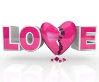 przerwa łamający końcówka kierowego miłości związek kierowy słowo Zdjęcie Stock
