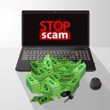 Przerwa przekręt cyganienie i oszustwo Komputer ilustracja wektor
