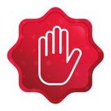 Przerwy ręki ikony starburst majcheru mglisty różany czerwony guzik ilustracja wektor