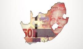 Przerywająca kraj mapa Południowa Afryka Obraz Stock