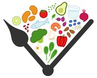 Przerywany zamocowanie, ograniczający łasowanie Zdrowi foods między zegarowymi rękami, dzienny łasowania okno, koncepcyjna grafik ilustracji