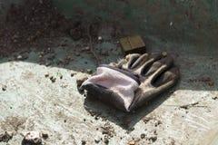 Przerzedże brudnego dobrze używać uprawiający ogródek rękawiczkę Fotografia Stock