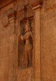 Przerzedże kamień rzeźbiącej bogini w mahabalipuram- pięć rathas Zdjęcia Stock
