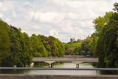 przerzuca most Isar nad rzeką Obraz Royalty Free