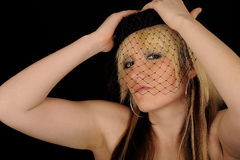 przesłony czarny netto kobieta Zdjęcia Royalty Free
