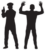 Przestępca i funkcjonariusz policji ilustracji