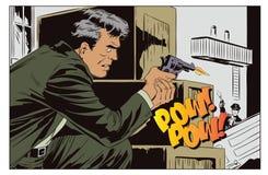 Przestępca krótkopędy przy policją tła jaskrawy ilustracyjny pomarańcze zapas ilustracji