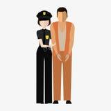 Przestępca, przestępca i funkcjonariusz policji, Ilustracja, elementy dla projekta Zdjęcia Stock