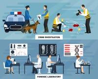 Przestępstwa dochodzenia mieszkania sztandary ilustracja wektor