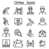 Przestępstwo ikona ustawiająca w cienkim kreskowym stylu royalty ilustracja