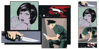 Przestępstwo kolaż Kobiety ofiara przestępca ilustracja wektor