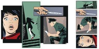 Przestępstwo kolaż Kobiety ofiara przestępca ilustracji