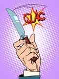 Przestępstwo ręki nożowy bandyta ilustracji