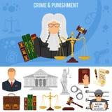 Przestępstwa i kary sztandar Fotografia Stock