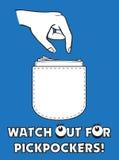 przestępstwa zegarek kieszonkowów plakatowy uliczny zegarek Obraz Stock