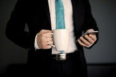 przestań tła rogalik filiżanki kawy sweet Zdjęcie Royalty Free
