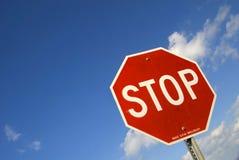 przestań szyldowa wykrzywiona fotografia stock