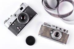 Przestarzałe kamery na białym tle Fotografia Royalty Free