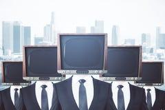 Przestarzali TV głowiaści biznesmeni ilustracja wektor