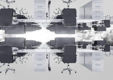 przestawny biuro w chmurach z racą zdjęcie royalty free
