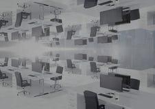 Przestawny biuro z linią horyzontu i racą obrazy stock