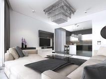 Przestronnego mieszkania wewnętrzny studio z stylem, łomotać i kuchnią biel ściany scandinavian, ilustracja wektor