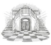 Przestronny sala i schody rysunek, wektorowa ilustracja Zdjęcia Stock