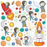 Przestrzeń dla dzieci Dzieciaków i kosmosu eksploracja Przygody, planety, gwiazdy księżyc ziemi Rakieta, wahadłowiec, słońce royalty ilustracja