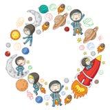 Przestrzeń dla dzieci Dzieciaków i kosmosu eksploracja Przygody, planety, gwiazdy księżyc ziemi Rakieta, wahadłowiec, słońce ilustracja wektor