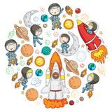 Przestrzeń dla dzieci Dzieciaków i kosmosu eksploracja Przygody, planety, gwiazdy księżyc ziemi Rakieta, wahadłowiec, słońce ilustracji