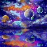 Przestrzeń, galaxies i planety w, gramy główna rolę przestrzeń Zdjęcia Stock