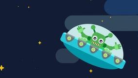 Przestrzeń gra główna rolę płaskich statków kosmicznych obcych, astronauta jaskrawych i ilustracja wektor