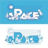 przestrzeń Płaska ilustracja z typograficznym Fotografia Stock