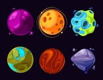 Przestrzeń planetuje, asteroida, księżyc, fantastyczne światowej gry kreskówki wektorowe ikony Obrazy Royalty Free