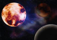 Przestrzeń z słońce planetami obrazy royalty free