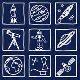 Przestrzeni i astronomii ikony Zdjęcie Royalty Free