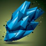 Przestrzenny technologiczny jaskrawy kształt, poligonalny kolorowy wireframe Obrazy Royalty Free