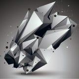 Przestrzenny technologiczny kontrasta kształt, poligonalny przerzedże koloru wir Obrazy Stock